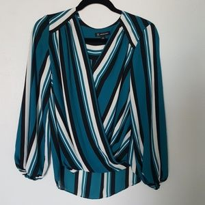 Teal Striped Blouse